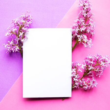 Lilac blooming branches and white mockup blank on geometric purple background.