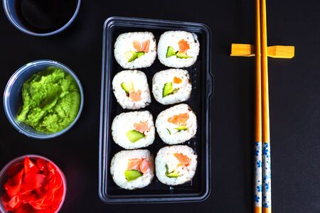 Set of sushi roll in the box, top view