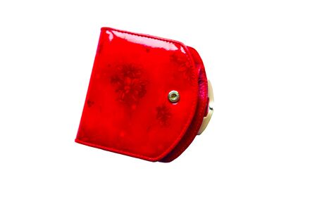 red vintage wallet isolated on white 스톡 콘텐츠