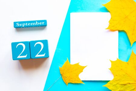 September 22. Wooden handmade calendar and white mockup blank with dry maple leaves on geometric white and blue background 스톡 콘텐츠