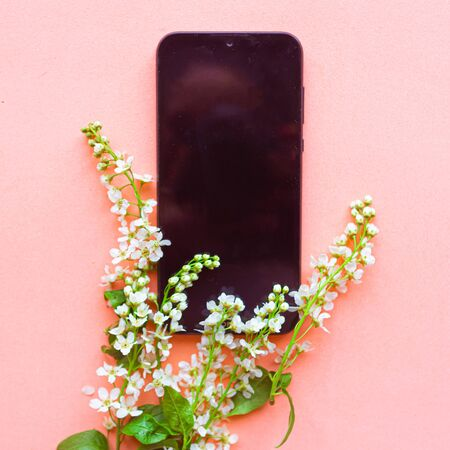 Black mockup phone screen and blooming spring flowers on pink background. Copy space for the text