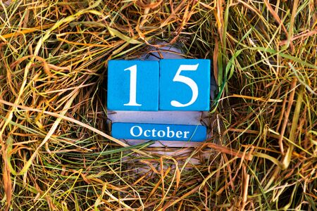 October 15th. Blue cube calendar with month and date on dry straw background