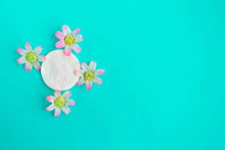 Cotton sponges with decorative flowers on blue background, top view, copy space Foto de archivo - 151339576