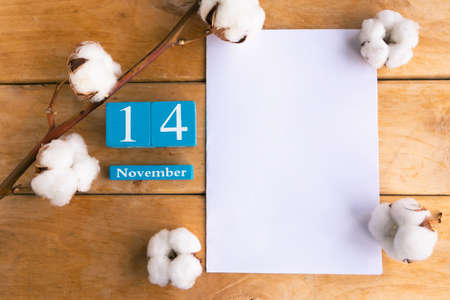 November 14th. Blue cube calendar with month and date on wooden background.
