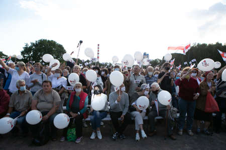 Minks / Belarus - 30 July 2020: crowd of people in the park during the presidential election campaign 2020 in Belarus. Elections in Belarus 2020 Editoriali