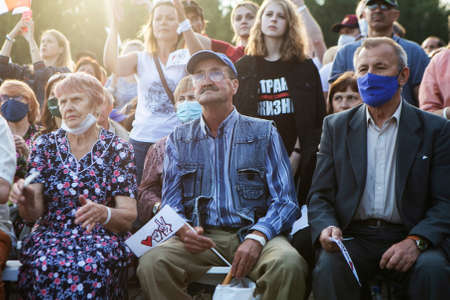 Minsk / Belarus - July 30, 2020: Pensioners in the park at opposition rally in Minsk on July 30, 2020. Belarusian politic opposition. Presidential Elections in Belarus 2020