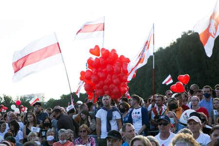 Minsk / Belarus - July 30, 2020: Crowd of people in the park at opposition rally in Minsk on July 30, 2020. Belarusian politic opposition. Presidential Elections in Belarus 2020