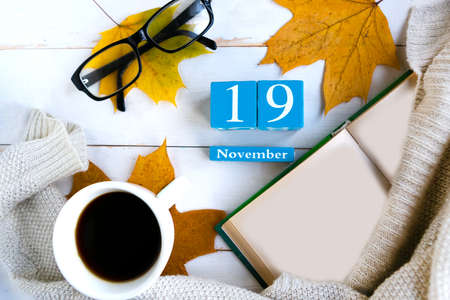 November 19. Blue cube calendar with month and date on wooden background. Stock Photo