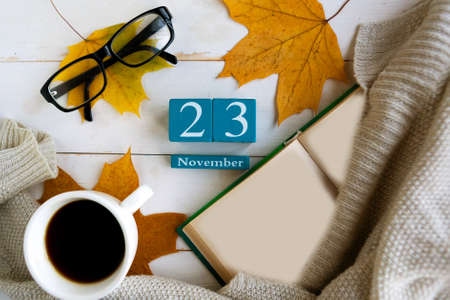 November 23. Blue cube calendar with month and date on wooden background.