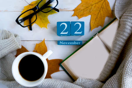 November 22. Blue cube calendar with month and date on wooden background.
