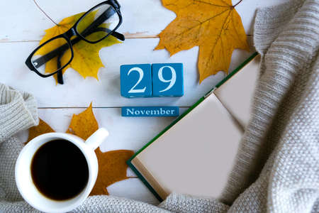 November 29. Blue cube calendar with month and date on wooden background.