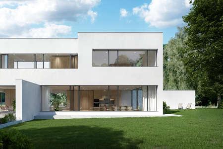 Warsaw Poland - August 7, 2018: Modern villa house exterior in garden Redactioneel
