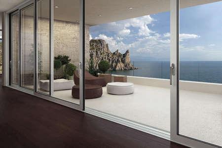 modern window of veranda overlooking the sea, 3d rendering