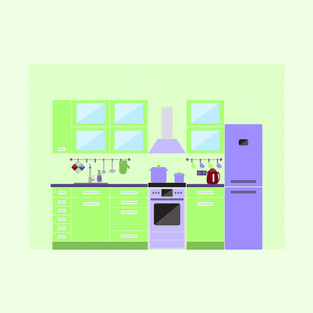kitchen furniture: Vector illustration of kitchen with furniture. Flat style. Illustration