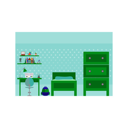 desk toy: Vector illustration of boy room with furniture. Flat style. Illustration
