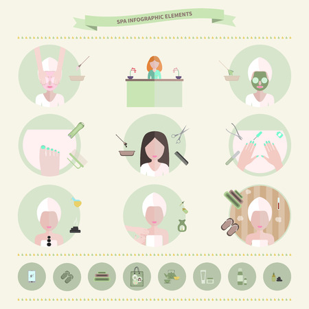 massage symbol: Vector illustration of spa infographic elements. Flat style.