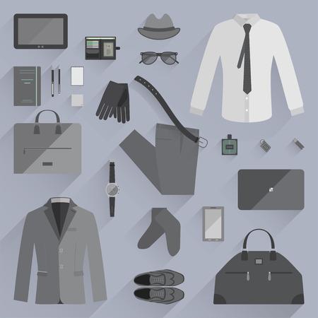 accessoire: Vector illustratie van het dagelijks accessoire voor zakenman. Vlakke stijl.