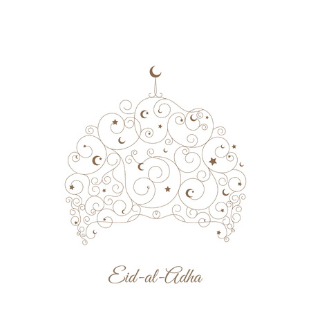 Decorative greeting card for Eid-al-Adha festival. Elegant mosque decorated with little stars and crescents on white background. Illustration