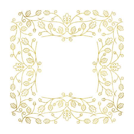 gold floral: Vector illustration of gold floral frame. Line style.