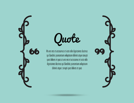 cite: Vector illustration of quote text bubble. Floral bracket qoute on light blue background.