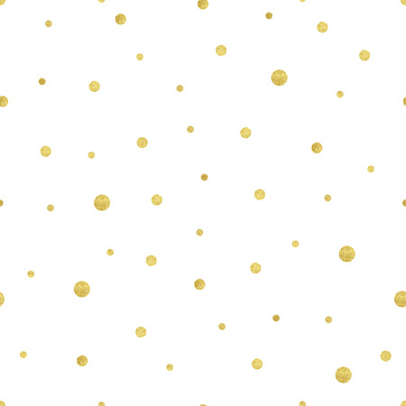 Vector illustration of gold circle pattern. Luxurious seamless of different sized polka dots. Vettoriali