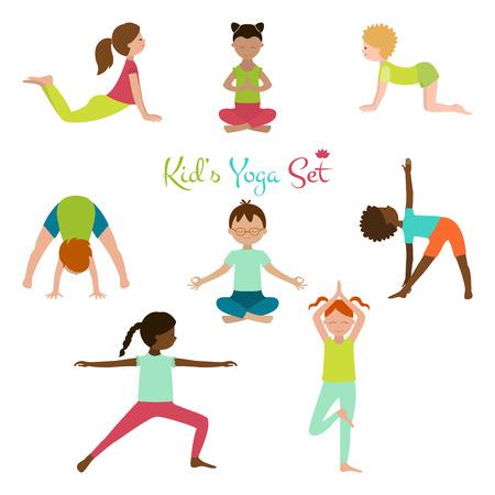 illustration of kid yoga collection. Yoga poses of kid. Cute kid yoga poster. Vector Illustration