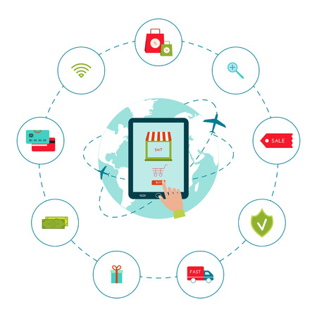 illustration of e commerce concept set. Collection of icons for online shopping. Flat style. Isolated on white background. Ecommerce infographic. Web design for online shop.
