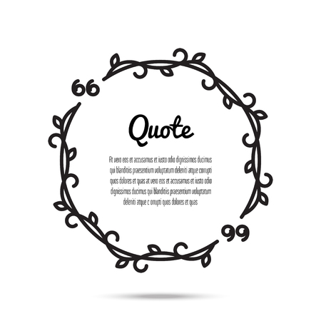 citing: illustration of quote blank. Quote bubble sample. Quote bubble in round form. Flourish frame. Isolated on white background.