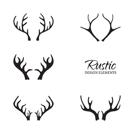 illustration of antlers collection. Rustic design elements. Hand drawn antlers. Isolated on white background.