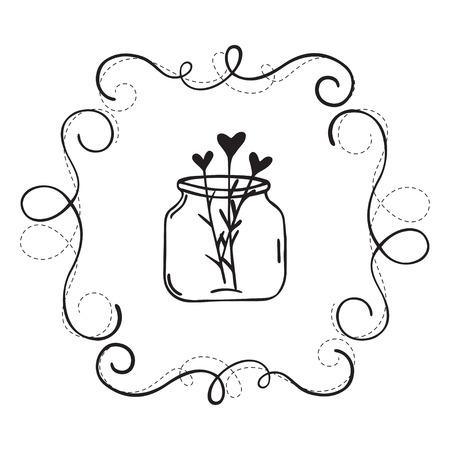 Illustration von Hand gezeichneten Grenze. Doodle-Frame mit Herzen. Isoliert auf weißem Hintergrund. Kann für Hochzeit und Geburtstag Einladung verwendet werden.