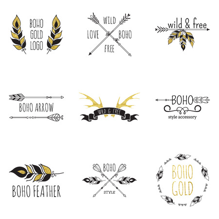 shaman: Vector illustration of boho logo collection. Bohemian logo with feathers, antlers and arrows. Black and gold color. Isolated on white background. Hand drawn.