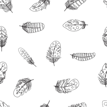 bohemian: Vector illustration of boho feather seamless pattern. Bohemian background in black and white colors. Illustration
