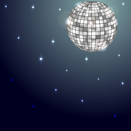 disco, disco ball in the night sky, the moon replaces. Illustration