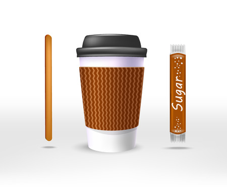 reflection: Paper cup of coffee in the kraft bag and a stirrer, a sugar stick, a plastic black cover. Illustration