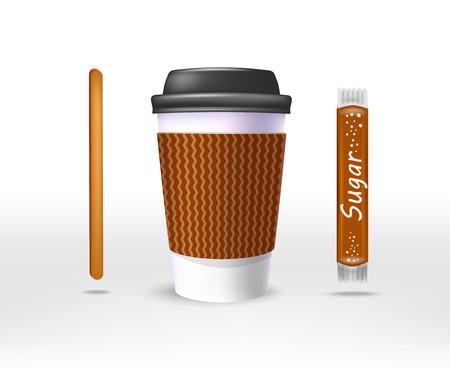 Una taza de café con papel en la bolsa de papel kraft y un agitador, una vara de azúcar, una cubierta de plástico negro.