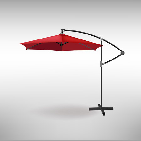 Open red umbrella for summer and beach cafe.