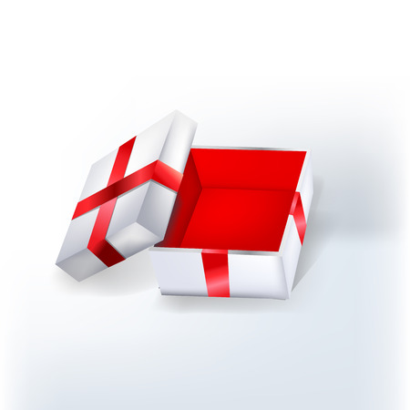 Open empty white gift box with red ribbon and red walls inside.