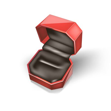 One close up empty red case for a engagement ring cuff links and ornaments with black velor cloth inside. Vector Jewelry box Isolated on white background