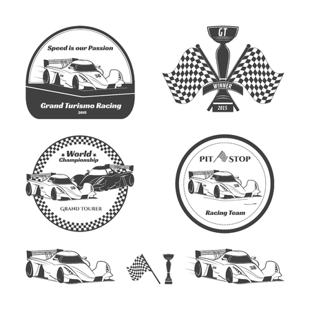 bolide: Set of car racing emblems. Vector illustration. Isolated on white background