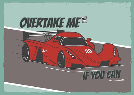 bolide: Race car. Retro style poster. Vector Illustration Illustration