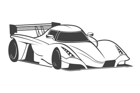 bolide: White sport car, isolated on white background. Vector illustration Illustration
