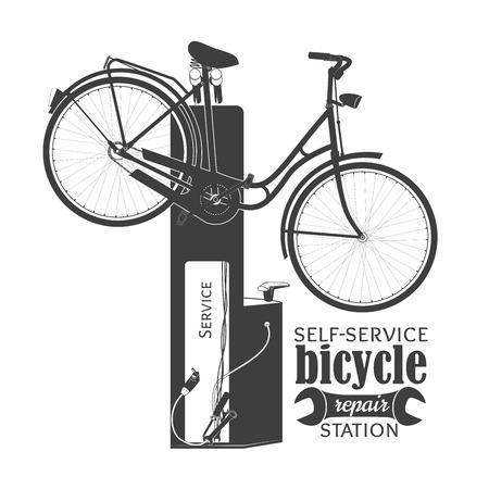 Fiets op self-service fietsenmaker station. Geïsoleerd op witte achtergrond