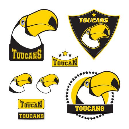 team sports: Conjunto de insignias de tucán, etiquetas, emblemas y elementos de diseño. Ilustración del vector aislado en el fondo blanco Vectores