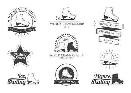 Conjunto de insignias de patinaje artístico, etiquetas, emblemas y elementos de diseño. ilustración vectorial