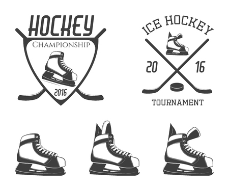 hockey skates: Set of ice hockey skates with emblems on hockey topic. Vector illustration