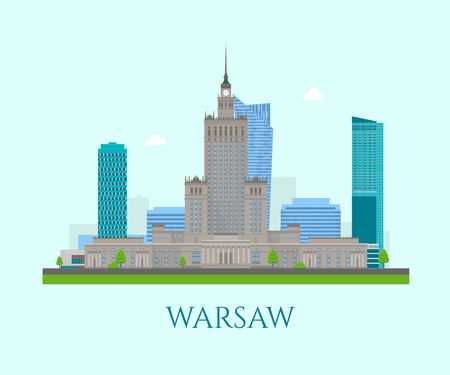 Skyscrapers at the business center of Warsaw city. Detailed colorful landscape composition. Warsaws places to travel. Vector illustration.