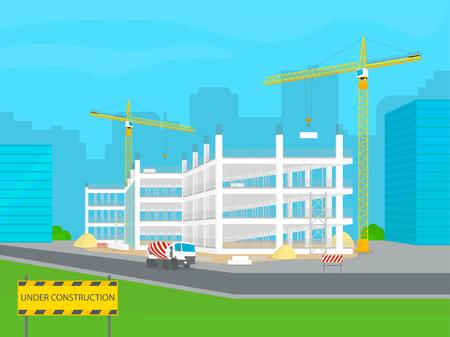正在建設中。城市現代建築發展。建築機械 - 建築起重機,混凝土攪拌車,標牌,磚等元素。矢量圖。