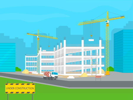 Building under construction. Development of modern architecture in the city. Construction machinery - building cranes, concrete mixer truck, signs, bricks and other elements. Vector illustration.