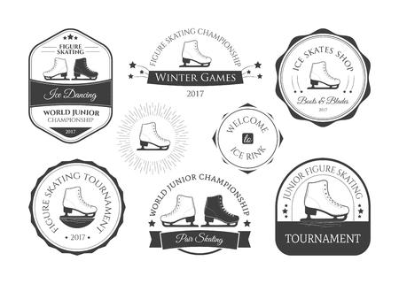 Set van schaatsen en kunstschaatsen logo's, labels, emblemen en ontwerpelementen. Vector illustratie