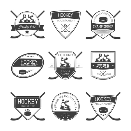 Set of ice hockey logos, labels, emblems and design elements. Vector illustration